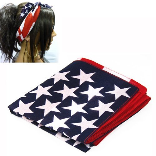 SODIAL(R) American Stars and Stripes EE.UU. Bandera Bandana banda para el cabello 100% tela
