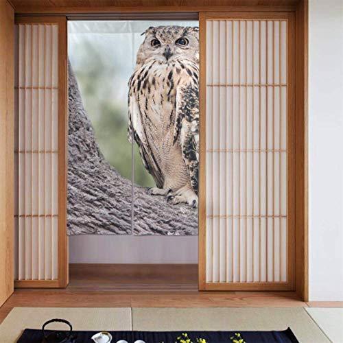 JIUCHUAN Vorhang für Mädchen Schlafzimmer Eule im schönen Wald Schlafzimmer Fenster Vorhang Vorhänge für Küchenfenster Lange Schrift für zu Hause Küchentür Dekoration 34 x 56 Zoll (86x143cm)