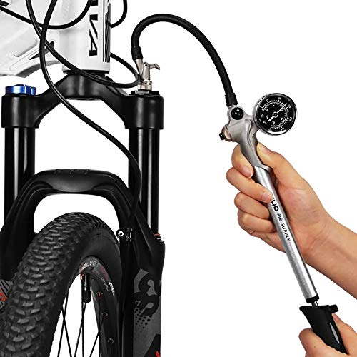 GIYO High Pressure Shock Pump, (300 PSI Max) for Fork & Rear Suspension, Lever Lock on Nozzle No Air Loss (Silver)