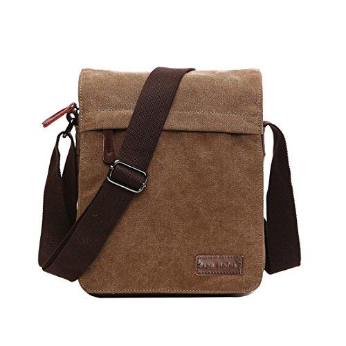 Leinwand Messenger Bag Umhängetasche Laptop Tasche Computer Tasche Umhängetasche aus Segeltuch Tasche Arbeiten Tasche Umhängetasche für Männer und Frauen, Herren, Coffee Small