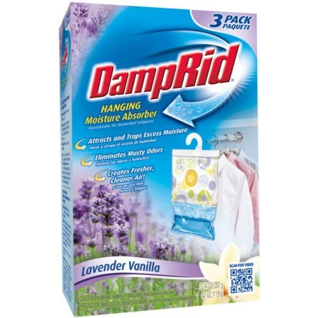 by DampRid Hanging Moisture Absorber, Lavender Vanilla, 14 Oz, 3 Count-1 Pack, Multicolor