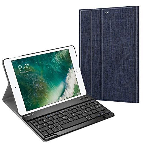 Fintie Tastatur Hülle für iPad 9.7 Zoll 2018 2017 / iPad Air 2 / iPad Air - Ultradünn leicht Schutzhülle Keyboard Case mit magnetisch Abnehmbarer drahtloser Deutscher Bluetooth Tastatur, Indigoblau