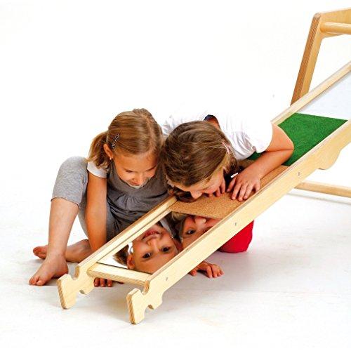 Erzi Balancierbrett Materialmix, Gleichgewichtsbrett, Fühlbrett, aus Birkensperrholz, Maße 190 x 24 x 8,5 cm, bunt