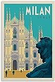 APAZSH Lienzos Decorativos Póster de Viaje Vintage póster de Italia y Milán Pintura Decorativa Lienzo Poster artísticos de Pared Pintura 50x70cm x1 Sin Marco