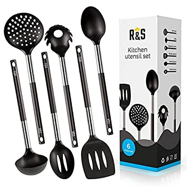 Kitchen Utensils - 6 Best Kitchen Utensil Set - Black Nylon Cooking Utensils - Kitchen Gadgets Gift