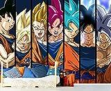 Fotomural Vinilo de Pared Dragon Ball Super Formas Goku Producto Oficial | 350x250 cm | Fotomural para Paredes | Producto Original | Decoración Hogar | DBS