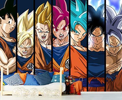 Fotomural Vinilo de Pared Dragon Ball Super Formas Goku Producto Oficial | 200x150 cm | Fotomural para Paredes | Producto Original | Decoración Hogar | DBS