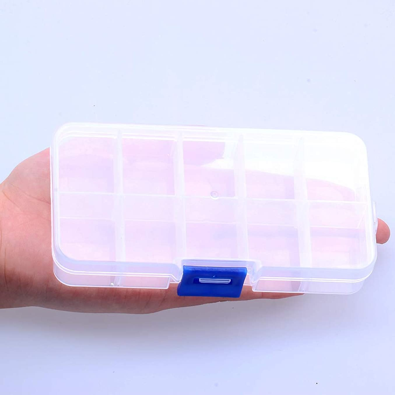 苗理論について10グリッド調節可能6x13センチメートルクリア矩形プラスチック収納ボックス小さなジュエリーのツールボックスクラフトビーズケースオーガナイザーストレージボックス
