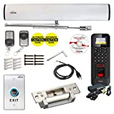 Visionis FPC-7363 110V Electric Automatic Door Opener + Closer for 440lb Out-Swing Doors + Wireless Remotes + No Touch Exit Button + VIS- 3013 Reader Fingerprint Keypad with Software + Electric Strike