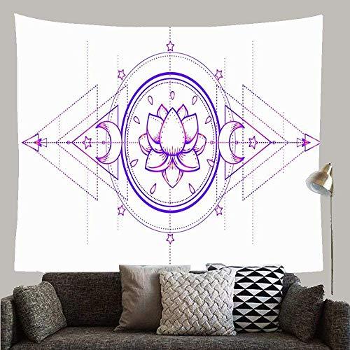 Oriente Oriental Púrpura Zen Tinta india Kundalini Geometría Armonía Naturaleza Curación Negro Colorear Vida Tapiz personalizado Tapiz de pared Decoración de arte para dormitorio Sala de estar Dormito