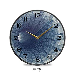 YOLIYANA Non-Ticking Acrylic Decorative Round Wall Clock Endless Tunnel with Fractal Square Shaped Segment Digital Dimension Vintage Rustic Country Tuscan Style Home Decor Round Wall Clock 11.9