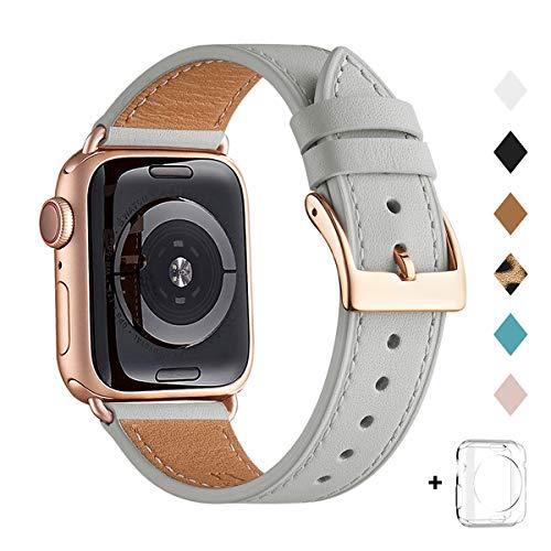 QAZNZ Correas de piel para Apple Watch de 40 mm, 44 mm, 38 mm, 42 mm, correa de piel auténtica de repuesto para Apple Watch Series 6 5 4 3 2 1 y iWatch SE (gris claro/oro rosa)