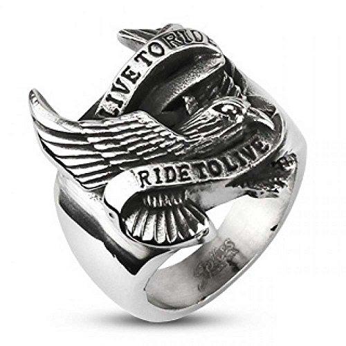 """Anello con effigie di aquila e scritta in lingua inglese """"Live to Ride"""" e acciaio chirurgico 316 L, 22, cod. bague"""