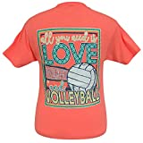 Girlie Girls All You Need is Love and Volleyball Short Sleeve T-Shirt - Youth (Small)