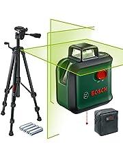 Bosch korslinjelaser AdvancedLevel 360, sats (horisontallinje på 360°, två vertikallinjer och lodpunkt nedtill, grön laser, 4 x AA-batterier, med stativ, i kartong)