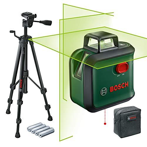 Bosch Kreuzlinienlaser AdvancedLevel 360 Set (Horizontale 360°-Laserlinie, zwei vertikale Linien und Lotpunkt unten, grüner Laser, 4x AA-Batterien, mit Stativ, im Karton)