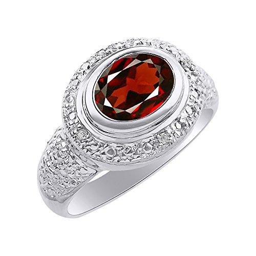 Anillo de plata de ley con diamantes y granate – anillo de piedra de nacimiento de color