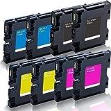 8 x Cartucce per Stampanti Compatibili Ricoh Aficio Sg 2100 N 3100 Snw 3110 Dn Dnw Sfnw 7100 - K Nero Ciano Magenta Giallo - Gc-41 Gc41 - Color Serie Pro