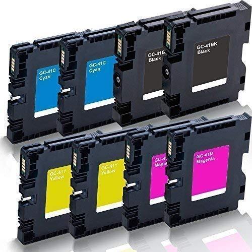 8x kompatible Druckerpatronen für Ricoh Aficio SG 2100 SG 2100 N SG 3100 snw SG 3110 dn SG 3110 dnw SG 3110 n SG 3110 sfnw SG 7100 dn SG-K 3100 DN Black Cyan Magenta Yellow - GC-41 GC41 - Color Pro Serie