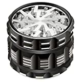 Godefa Herb Grinder Dry Spice Herb Grinder with Pollen Catcher Aluminum 4 Piece 2.4 Inch with Magnetic and Clear Lid