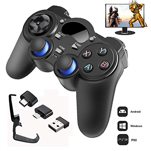 XLNB 2.4g Controller Gamepad Android Joystick Inalámbrico Joypad con Convertidor OTG para Ps3 / Teléfono Inteligente para Tablet Pc Smart TV Box,Negro