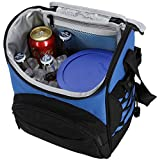 MIER 16 Can Insulated Lunch Box Bag for Women Men Large Leakproof Soft Cooler Bag, Black Grey