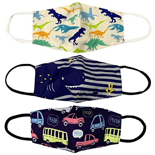 Kids 3 Pack of Washable and Reusable Breathable Cotton 2 Layer Face Mask with Adjustable Straps in Car, Dinosaur, and Shark Designs