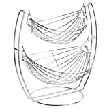 Chrome Double Hammock 2 Tier Fruit / Vegetables / Produce Metal Basket Rack Display Stand - MyGift