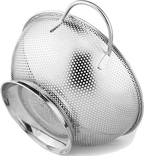 DLD Stainless Steel 5-Quart Colander: Metal Pasta Strainer with Handles & Base - Large Strainer Basket for Pasta, Rice Noodles & More: Dishwasher Safe