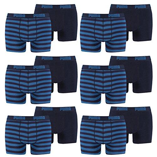 PUMA Herren Striped 1515 Boxer Boxershort Unterhose 12er Pack blue 056 - S