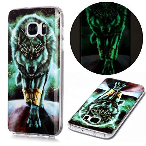 Nadoli Hülle Leuchtend für Samsung Galaxy S6 Edge,Grün Wolf Muster Fluoreszierend Licht im Dunkeln Weich Dünn Gummi Handytasche Stoßfest Flexibel Schutzhülle Etui