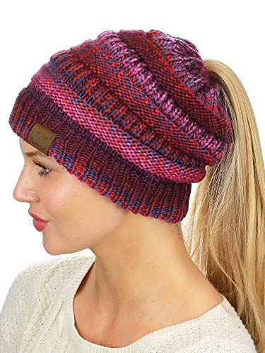 C.C BeanieTail Soft Stretch Cable Knit Messy High Bun Ponytail Beanie Hat, Burgundy Tribal Blend
