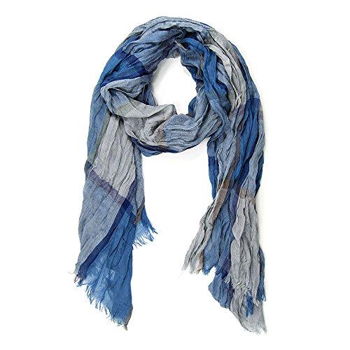 MANUMAR Schal für Damen | feines geknittertes Hals-Tuch in blau braun mit Karo Motiv als perfektes Herbst Winter Accessoire | Klassischer Damen-Schal | Stola | Mode | Ideales Geschenk für Frauen