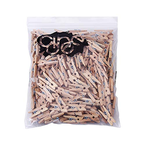 CCINEE ミニ 木製クロスピン 木色 25mm 200個入り 木製クリップ ウッドクリップ 木製ピンチ 木製クロスピン 洗濯バサミ 洗濯小物ピンチ 写真用に