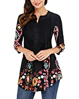 DOKOTOO Women Casual 3/4 Sleeve Loose Floral Notch Neck Pin-Tuck Tunic Blouse Top Shirts X-Large Black