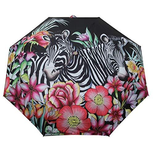 Anuschka Regenschirm öffnet und schließt automatisch, LSF 50+, Sonnenschutz, 96,5 cm, wasserdicht, passt in die Handtasche, winddicht, flexibles Fiberglas, verspieltes Zebras