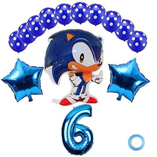 ZWYCEX Globos 14 de aluminio de doble cara papel de héroe de Sonic los globos de la fiesta de cumpleaños conjunto de látex muchachas del muchacho de erizo de Sega Balloond decorado la edad de 32 pulga