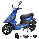 X-PRO Bali Moped Scooter Street Scooter Gas Moped 150cc Adult Scooter Bike with 10' Aluminum Wheels! Fully Assembled in Crate! (Blue)