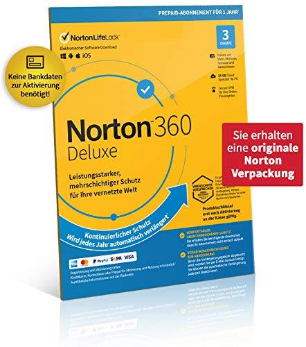 Norton 360 Deluxe 2020, 3-Geräte, 1-Jahres-Abonnement mit Automatischer Verlängerung, Secure VPN und Passwort-Manager, PC/Mac/Android/iOS, FFP, Download