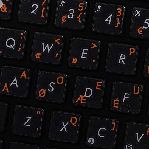 Dvorak Programmer Keyboard Labels Layout ON Transparent Background with Blue, Orange, RED, White OR Yellow Lettering (14X14) (Orange)