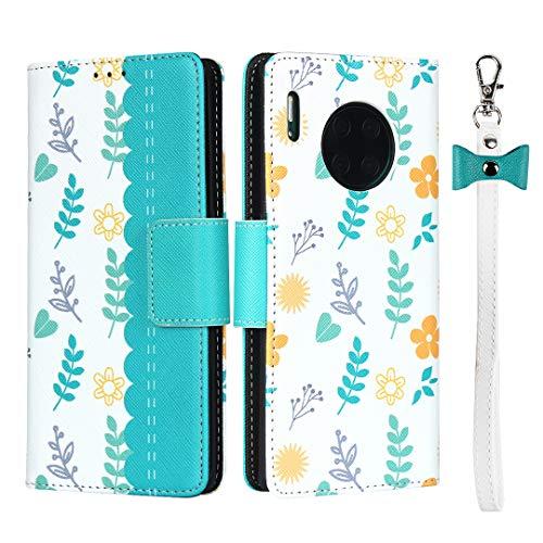 Coque pour Huawei Mate 30 Pro,Cuir Premium Fleur Flip Portefeuille, Fentes de Carte, Stand Fonction, Magnétique Flip PU+TPU Case Cover Etui avec Corde - Bleu Ciel
