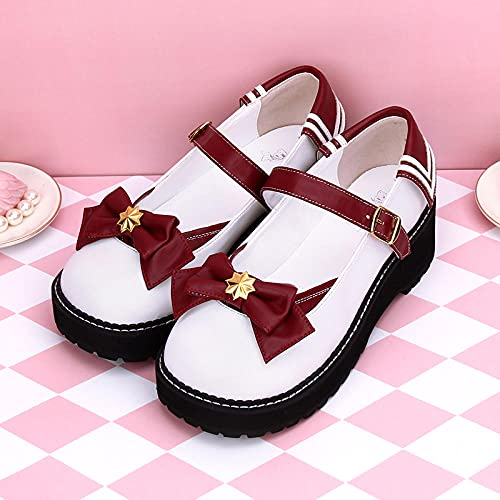 PetMeows Zapatos Lolita Zapatos de Plataforma con Plataforma y Lazo de tacón bajo-41_Blanco + Vino Tinto