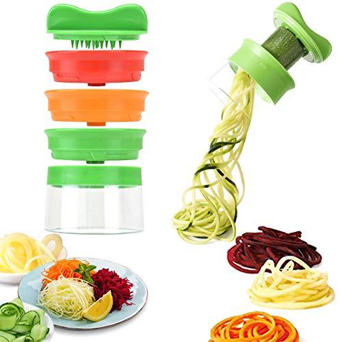 Bellkey Spiralschneider Hand für Gemüsespaghetti, 3-Klingen Gemüse Spiralschneider, Gemüse Spiralschneider, Gemüsenudeln spiralschneider für Karotte, Gurke, Kartoffel, Kürbis, Zucchini (Grün, 8.8cm)