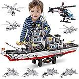 WYSWYG Bloques de construcción portaaviones + helicóptero, Juguete de construcción con 1164 Piezas Portador de construcción, Juguete de Aprendizaje, Juego Regalo para niños y niñas a Partir de 6 años