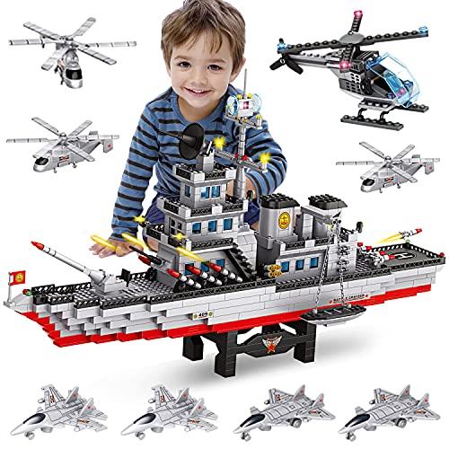WYSWYG Bloques de construcción portaaviones + helicóptero, Juguete de construcción con 1164 Piezas Portador de construcción, Juguete de Aprendizaje, Juego Regalo para niños y niñas a Partir de 6