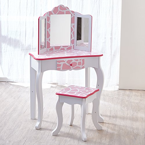 Teamson Kids Childrens Pink houten kaptafel en kruk spiegel TD-11670D