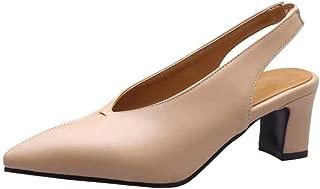 AbbyAnne Women Fashion Slingback Pumps Mid Heels Slip On