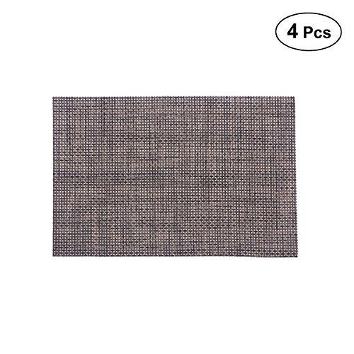 VOSAREA 4 Piezas Mantel Individual Estera Lavable tapetes de PVC manteles Individuales a Prueba de Calor manteles para Mesa de Comedor de Cocina (2015 fabricar, cafe)