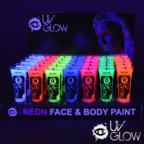 UV Glow Lot de 96 tubes de peinture fluorescente pour le visage et le corps 96 x 10 ml