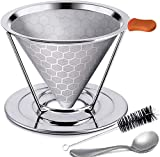 Honeycombed Stainless Steel Coffee Filter, Reusable Pour Over Coffee Filter Cone Coffee Dripper with Removable Cup Stand and Bonus Brush